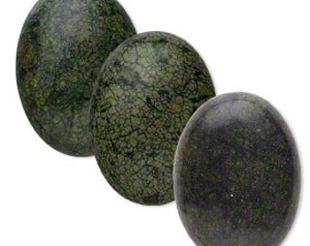 Green Cabochon, Russian Serpentine cabochon, Natural B Grade, 30x22mm Oval Cab, 1 each, D343