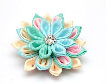 Pastel kanzashi brooch, Kanzashi flower brooch, mint, blue, baby pink and cream kanzashi brooch, fabric brooch,  ladies brooch