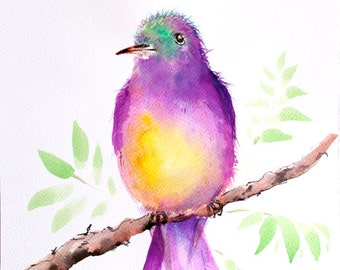 Bird painting Original watercolor painting of bird Art Original painting bird on branch painting Bird picture Acrylic art Tropical bird