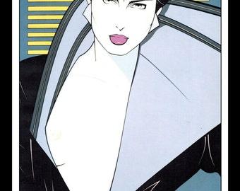 "Patrick Nagel Vintage Pinup Illustration Sexy Nude Pinup Mature Wall Art Deco Book Print 9"" x 12"""