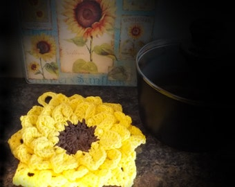 Crochet Sunflower Hotpad, Hot Pad, Pot Holder, Potholder