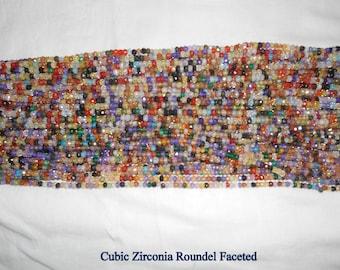 Cubic Zirconia Roundel Faceted 3.5mm