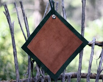 Two tone suede, leather potholders