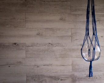 electric blue macrame plant hanger