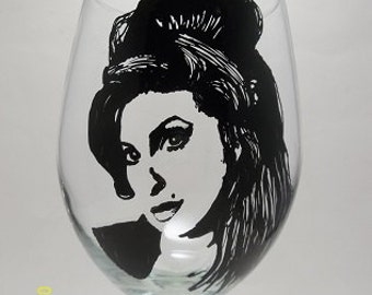 Hand Painted Glass, Painted Wine Glass, Amy Winehouse