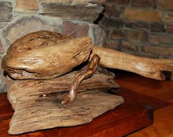 Driftwood Snakes Sculpture, Driftwood Sculpture, Driftwood Art, Interior Design, Home Decor Driftwood, Lake Art, Animal Art, Wood Art