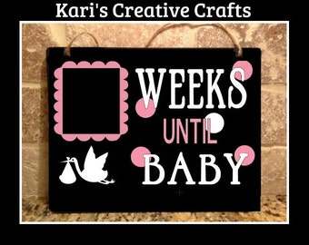 Baby Countdown Chalkboard, Baby Countdown sign, Pregnancy Countdown, Pregnancy Announcement, Mom To Be Gift,  Chalk Art, Stork
