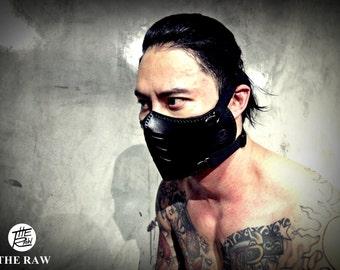 The raw custom moto mask rider : half face cafe racer mask (Masque moto cuir) Black
