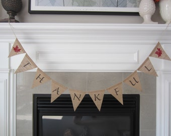 Thankful burlap banner - Thanksgiving banner with red maple leaves