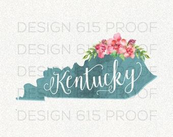 Kentucky Watercolor Floral Typography Print // Home & Wall Decor // Louisville Lexington
