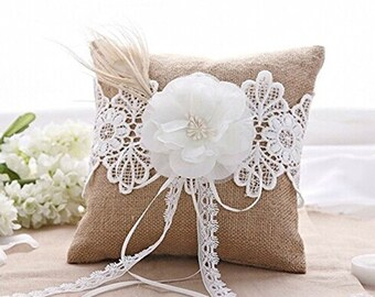 Burlap Lace Rustic Wedding Ring Bearer Pillow with Ivory Flower Pearls Feather Embellishment