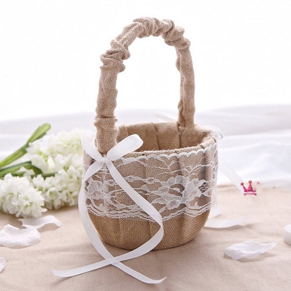 How To Make A Lace Flower Girl Basket : Rustic wedding hessian burlap lace flower girl basket party