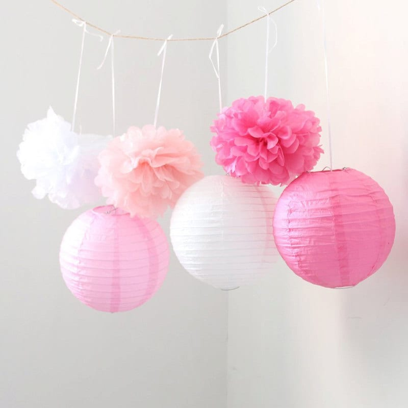 Set Of 9 Mixed Pink Fuchsia White Tissue Paper Pom Poms And