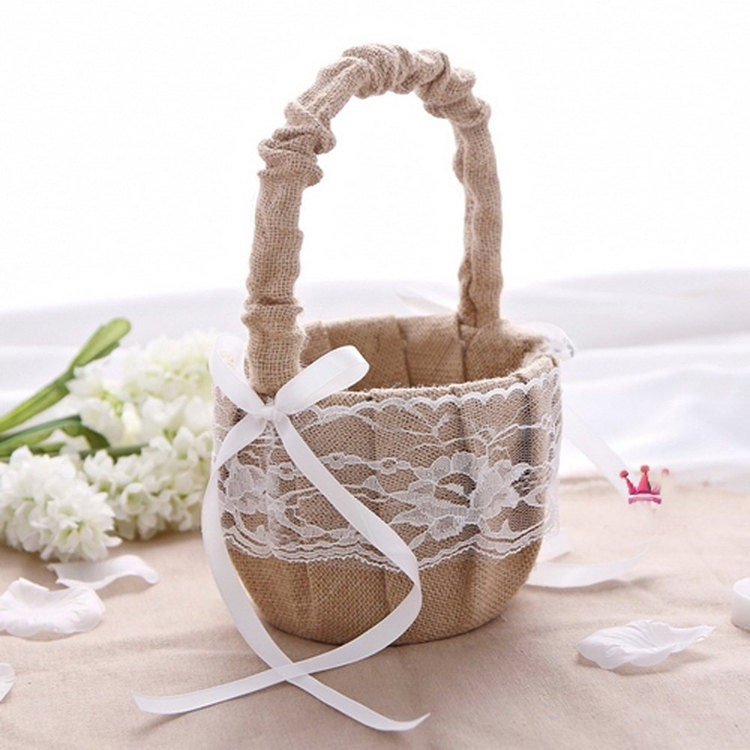 Rustic Burlap Flower Girl Baskets : Rustic wedding hessian burlap lace flower girl basket party