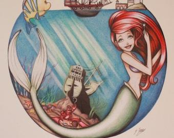 The Little Mermaid print - Ariel, Flounder and Sebastian print