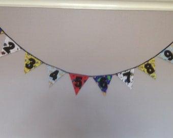 Handmade children's 1-10 number bunting 3 metres