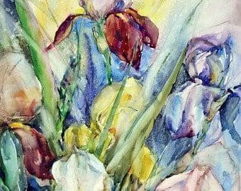 Original watercolor on paper Flowers iris