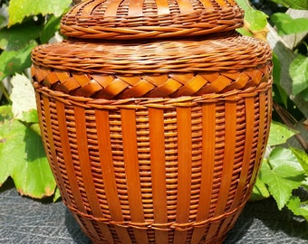 Rare Vintage Lidded Ceramic Urn Inside Lacquered Bamboo Basket from Shanghai Handicrafts in the PRoC