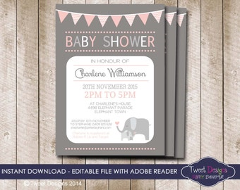 ELEPHANT Baby Shower Invitation, INSTANT Download Pink Elephant Invitation, Elephant Baby Shower Invitation, Edit yourself with Adobe Reader