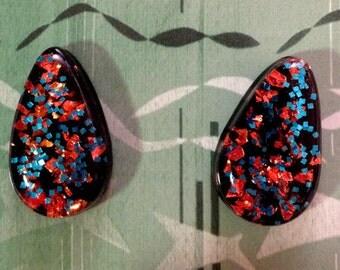 Vintage Style NEW L Teardrop Lucite Earrings Midnight