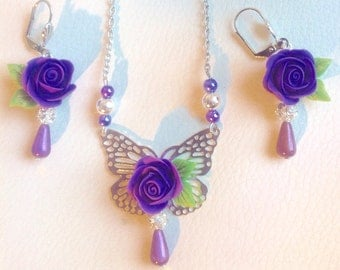 Purple small Roses and Butterfly  cold porcelain jewelry set