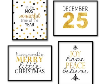 Black and Gold Group 3 Christmas, December 25, Joy, Hope, Peace, Wonderful Time, Wall Decor, Wall Art Prints, Instant Download