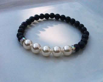Gemstone Lapis Lazuli & Swarovski Pearl Bracelet