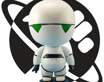 Marvin the Paranoid Android   Sculpture, Oversized Pop Figure, Scifi, Alan Rickman, Hitchhiker's Guide, Handmade