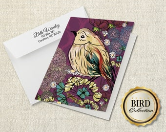 Folded notecard - BIRD COLLECTION in multiple colors