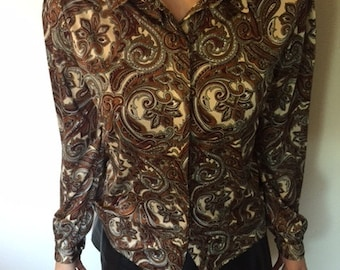Vintage 1960's Queensway to Fashion Paisley Blouse size small