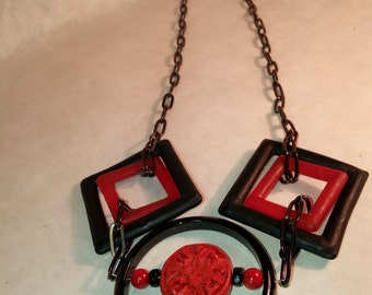 Red & Black Glass Statement Necklace