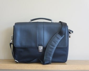 Spring Sale Hartmann Double Gusset Black Leather Nylon Briefcase Attache Laptop IPad Carrier - Excellent Condition -Like New