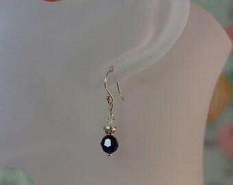Crystal Earrings Dark Indigo Blue and Clear AB Crystal