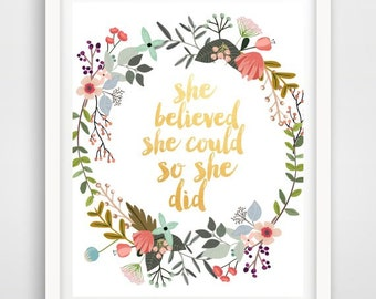 She Believed She Could So She Did, Motivational Quote, Printable Art, Inspirational,  Modern Wall Art, digital Download