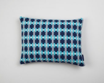 Rectangular Geometric Woven Lambswool Cushion - Puzzle design in Turquoise, Grey & Navy (Sea)