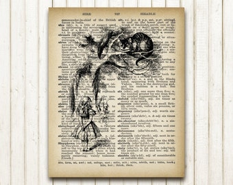 Alice in Wonderland old dictionary page paper digital print