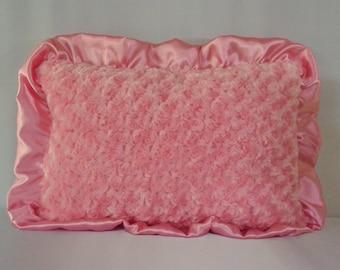 Pink/chevron decorative pillow, Minky pillow, Pillow with ruffles, Soft Pillows