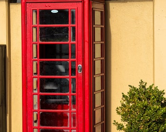 Bright Red Telephone Booth - antique phone London old photography