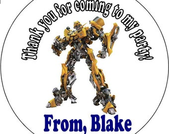 12 Transformers Birthday Party Stickers 2.5 inch Round Personalized kids