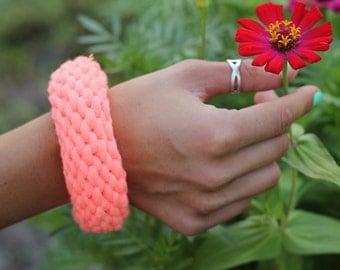 Cotton Bracelet, neon pink