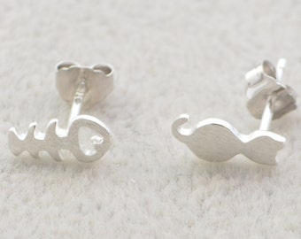 Quirky Cat and Fish Stud Earrings in Sterling Silver Textured Finish e73