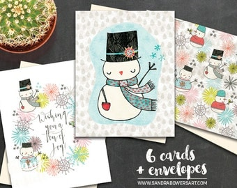 Assorted Boxed Notecard set - Snowmen - 6 blank cards and envelopes