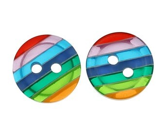30 x 12mm rainbow acrylic 2 hole buttons