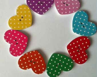 10x 30mm polka dot heart buttons in various colours