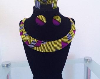 Green and purple Ankara Necklace