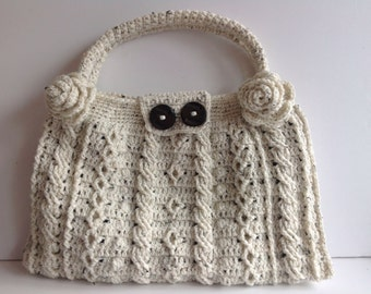 Handmade crochet cable lined bag
