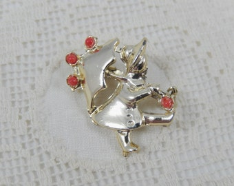 Cute Vintage Gold Tone Girl with Umbrella Small Brooch Pin