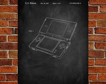 Nintendo DS  Art Print,  Patent, Nintendo DS  Vintage Art,  Blueprint,  Poster, PatentPrints, Wall Art, Decor [TO16A]