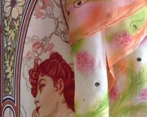 Orange/Pink/White/Flowers Hand Painted Head Neck Silk Scarf  KatinkaSilk SOLD!