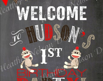 Brown Chalkboard Sock Monkey Birthday Party Welcome Sign